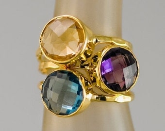 SALE - Mother's Ring Set - Birthstone Stackable Ring Set -  Stacking Ring -  Bezel Rings - Gold Rings -  Vermeil Ring - Gemstone Rings