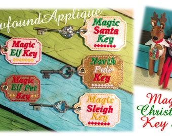 In The Hoop Magic Chrismtas Key Fob Embroidery Machine Design Set