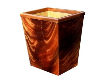 Crotch Mahogany Wood Wastebasket small size 13QT