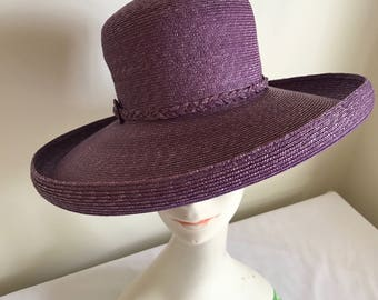 Vintage Purple Straw Brim Hat Made in Italy  Kentucky Derby