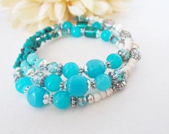 Turquoise Bracelet, Memory Wire Bracelet, Boho Wrap Bracelet, Ocean Bracelet, Aqua Blue Bracelet, Stone Bead Bracelet, Birthday Gift for Her
