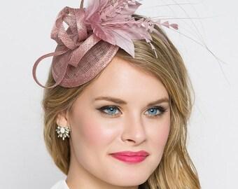 Muave Pink Mini Fascinator - Arianna Mini Muave Pink Mesh Fascinator
