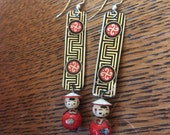 Vintage Tin and Beaded Asian Black and Red Earrings