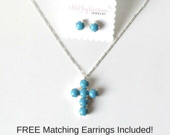 Cross Necklace Turquoise Cross Pendant Sterling Silver Necklace Cross Necklace Cross Jewelry Turquoise Jewelry Gift for Her Gift for Mom