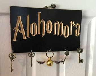 Alohomora Harry Potter Wall Mounted Hanging Key Rack Holder Display Hanger CNC Carved Wizard - Muggle - Dumbledore - Hogwarts - Accio Hooks