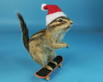 Mature,taxidermy chipmunk on skateboard,christmas gift