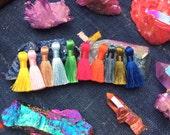 "Mini Silky Jewelry Tassels, SPRING Pantone Colors Mini Polyester, Short Handmade Tassels, Boho Mala Necklace Supply, 1.25"", You Choose 8+"