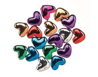 Metallic Heart Pony Beads, 10x12mm, 100 beads