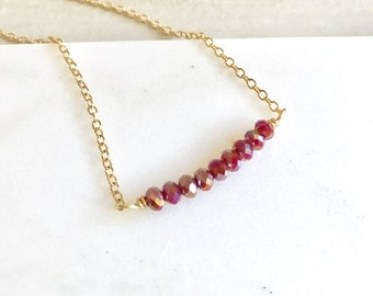 Ruby Red Beaded Bar Necklace. Simple Necklace. Layering Necklace. Gift for Her.