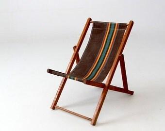 SALE vintage children's deck chair, folding beach chair, kids patio chair