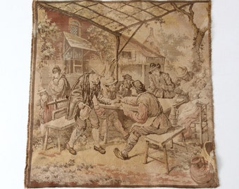 antique French tapestry, tavern scene tapestry woven wall hanging