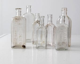 antique apothecary bottles, glass bottle collection 7 pc