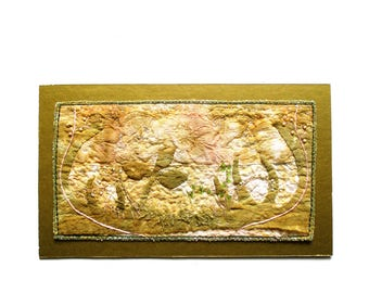 Embroidered garden in gold, mini textile art, top-mounted on mat, ready to frame, interior decoration