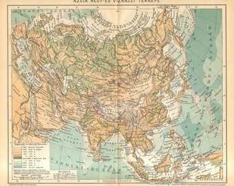 1893 Original Antique Relief Map of Asia