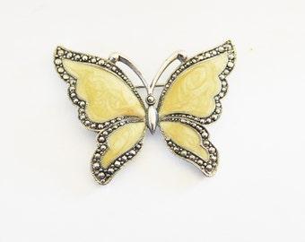 Butterfly Brooch Golden Cream Enamel Faux Marcasite Vintage Victorian revival