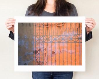Firenze travel photograph, shadow art, Italian design photo. Orange abstract art. Italianate design.