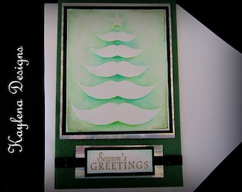 Embossed Mustache Christmas Tree Card, Handmade Card