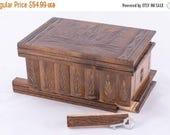Magyar Folk Art Wooden Secret Puzzle Box w/ Hidden Compartments Dark Brown Jewelry Case