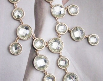 Faceted Glass Sparkle Statement Wedding Necklace in  gold tone finish Great Bridal Wedding Jewelry Pageant Jewelry