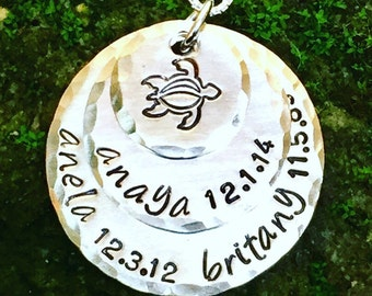 Turtle Necklace, Hand Stamped Necklace, Personalized Necklace Me Him Us, Personalized Couples Necklace For Her, Natashaaloha