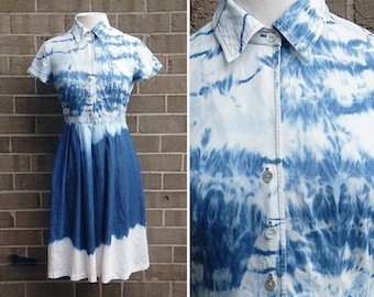 Sound Waves Summer Dress / Hand-dyed / Size Medium