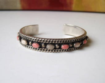 Sterling Silver Navajo Pink Coral and Pink Opal Cuff Bracelet 34 gr