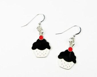Cupcake Earrings - Kawaii Cute Miniature Food Jewelry in Red, Black, and White