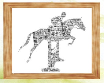 Horse and Rider Show Jumping Personalised Word Art Perfect Birthday,Christmas