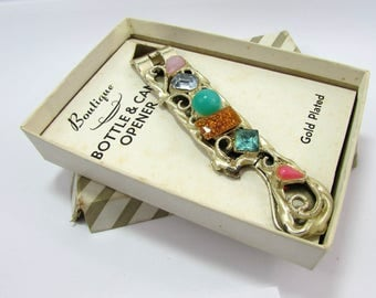 """Novelty Bottle & Can Opener - Boutique """"jeweled"""" Barware in original box -1950s"""
