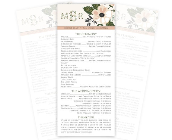 Monogram Wedding Programs with Flowers, Tea Length, Custom Printed, 20 Pieces Per Order