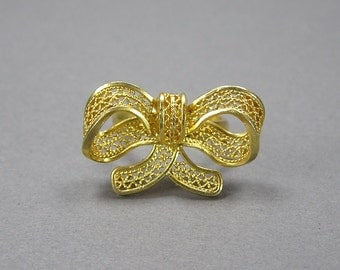 Filigree Bow Ring, Retro, Size 6, 80's, Gilt, Vermeil, 950 Silver, Vintage Jewelry, Under 20 Dollars