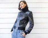 Vintage black genuine leather rib knit cuff pocketed 90s bomber jacket S M