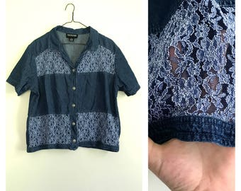 1990s denim and lace sheer panel blouse XL