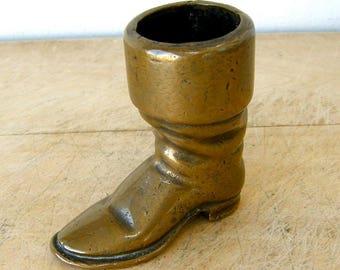BRASS BOOT MATCH Holder Heel & Sole Details Victorian Regency Gentleman's Riding Boot Old Shoe Brass Boot 1800's English Match Box