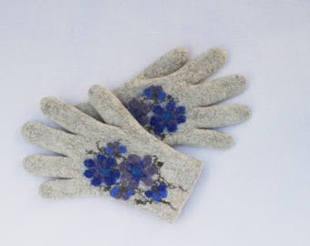 Felted Gloves Merino wool Gray Sand Blue Floral