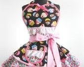 Ready to Ship Colorful Rainbow Cupcake and Polka Dot Apron