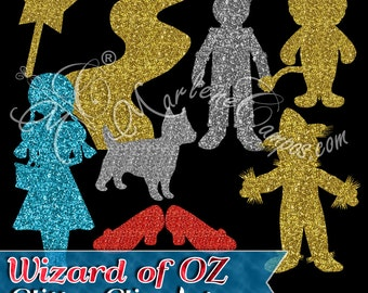 Glitter Wizard of OZ Silhouette Clip Art, Glitter Clip Art, Wizard of oz party, Wizard of oz birthday, Personal and Commercial