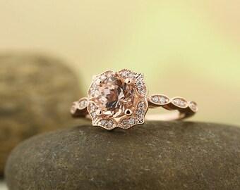 reserved courtneynspencer Morganite Engagement Ring ,Diamond Wedding Ring, Vintage Floral style In 14k Rose Gold Gem1366
