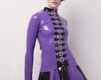Latex Skirt, Latex Stripe Skater Skirt