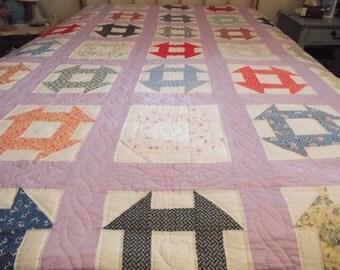 Vintage Churn Dash Pattern Quilt