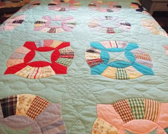 Vintage Hand Made Aqua Quilt in Unique Variation of Dresden Plate Pattern