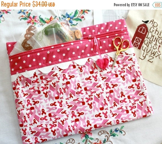SALE Breast Cancer Awareness Cross Stitch, Sewing, Embroidery Project Bag
