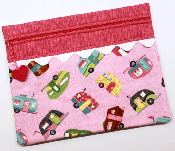 Pink Retro Campers Cross Stitch Embroidery Project Bag