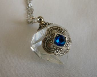 Essential Oil / Perfume Bottle Necklace Crystal Diamond And Blue Rhinestone
