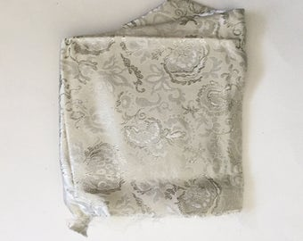 Vintage Silk Silver Jacquard Fabric
