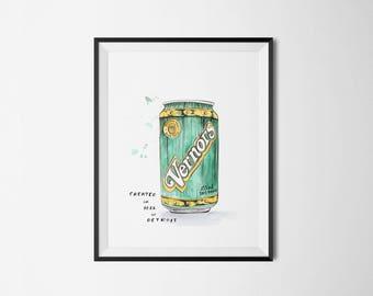 "Vernors Pop 8"" x 10"" Art Print - Draw Detroit Series"