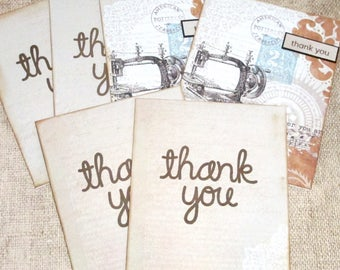 Thank You Card Set- Blank Thank You Set- Thank You Cards- Thank You Notes- Set of 6 - Stationery Set