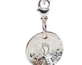 Personalized disc charm, Sterling silver, WITH clasp, gift for her, name charm, silver name charm, personalized name charm