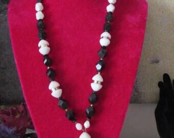 Black White Silver Tone Tassel Beaded Necklace Vintage