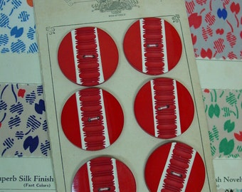 """Outstanding Set of 6 Large Vintage Buttons on Original Card 1 3/8"""" Bright Red and White"""
